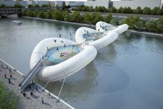 inflatable bridge, AZC, unusual structure, ultramodern architecture, French architecture, Paris architecture, architecture concept