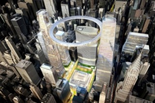 architecture concept, futurist architecture, floating observation deck, Grand Central Station, SOM, unusual structure