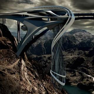 Stephan Sobl, Vertical Strip, Hanging Tower, future buildings, Colorado River, futurist design, modern technologies, unusual architecture, ultramodern architecture