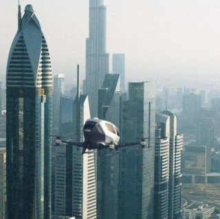 The Future of Aviation. World's First Passenger Drone, Ehang 184, Futuristic Vehicle, Aircraft, Personal Vehicle